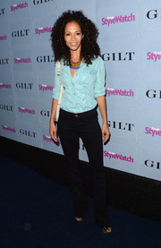 Sherri Saum looked cool in her jean shirt when she attended the People StyleWatch Denim Awards.