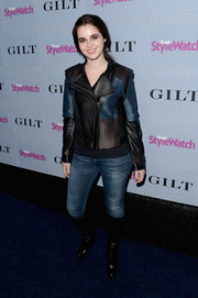 Vanessa Marano was moto-chic at the People StyleWatch Denim Awards in a multicolored leather jacket and jeans.