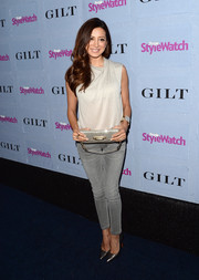 Noureen DeWulf was casual-chic in an asymmetrical-neckline blouse and skinny jeans at the People StyleWatch Denim Awards.