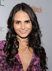 Jordana Brewster styled her raven locks in spiral center part curls, which provided the perfect frame for her face.