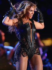 Beyonce rocked the Super Bowl in this leather bodysuit with lace applique. Sasha Fierce was on the loose!