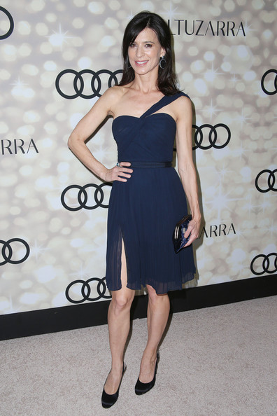 Perrey Reeves Pumps [dress,clothing,shoulder,little black dress,cocktail dress,strapless dress,fashion,joint,footwear,fashion model,altuzarra,perrey reeves,primetime emmy awards,california,los angeles,cecconis restaurant,audi,party,kick-off,kick-off party]