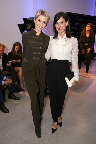 Perrey Reeves High-Waisted Pants [laura basci,chelsea kane,perrey reeves,fashion,fashion model,clothing,event,fashion show,fashion design,pantsuit,runway,suit,haute couture,de sede los angeles,california,showroom opening,de sede los angeles showroom opening]