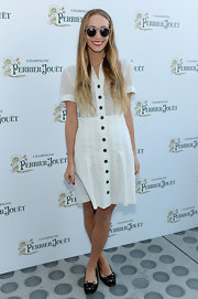 Harley Viera-Newton opted for a very summery frock when she sported the white eyelet day dress.