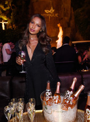 Jasmine Tookes was classic and elegant in a sparkly LBD at the Intrigue Nightclub one-year anniversary party.