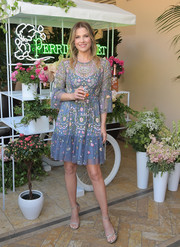 Ali Larter looked downright dreamy in a floral-embroidered periwinkle dress by Needle & Thread at the Perrier-Jouet Toasts Mother's Day event.