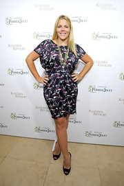 Busy Philipps chose an abstract printed dress for her casual but sleek look the launch of 'Kitchen Revelry.'