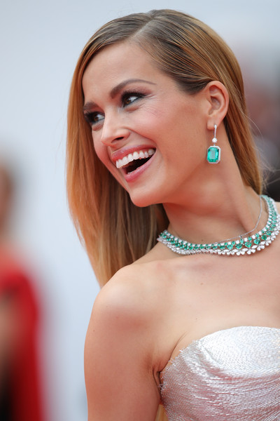 Petra Nemcova Gemstone Collar Necklace [aimer et courir vite during the 71st annual cannes film festival,hair,face,hairstyle,skin,beauty,blond,lady,eyebrow,shoulder,chin,red carpet arrivals - the 71st annual cannes film festival,sorry angel,may 10,plaire,aimer et courir vite,screening,palais des festivals,cannes,france]