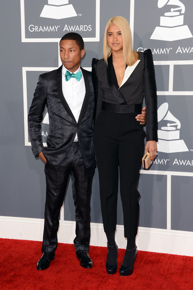 Pharrell Williams Bowtie [suit,red carpet,carpet,clothing,formal wear,tuxedo,flooring,event,pantsuit,white-collar worker,arrivals,pharrell,musician,helen lasichanh,california,los angeles,staples center,55th annual grammy awards]
