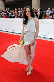 Victoria Pendleton's nude sandals were a neutral complement to her sweet dress.