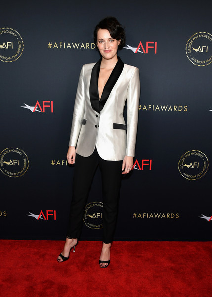 Phoebe Waller-Bridge Strappy Sandals [suit,clothing,red carpet,carpet,formal wear,pantsuit,tuxedo,fashion,premiere,footwear,arrivals,phoebe waller-bridge,los angeles,four seasons hotel,california,beverly hills,afi awards,phoebe waller-bridge,american film institute,american film institute awards 2019,2013 afi fest,screen actors guild awards,actor,sag-aftra,television producer,american film institute awards]