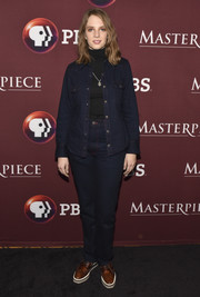 Maya Hawke kept it super casual in a denim jacket layered over a turtleneck at the photocall for 'Little Women.'