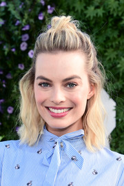 Margot Robbie sported a slightly messy half-up 'do at the photocall for 'Peter Rabbit.'