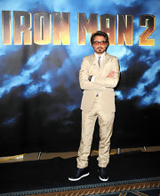 In true Tony Stark style, Robert paired his neutral suit with cool designer kicks. The Rolling High-Top Patent Sneakers changed up the vibe of his look, keeping it young and fashionable.