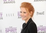 Jessica Chastain wore her hair swept back into a casual loose bun at the 2012 Independent Spirit Awards.