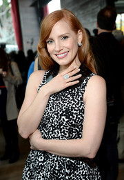 Jessica Chastain showed off a huge Piaget diamond ring and matching earrings at the Film Independent Filmmaker Grant nominee brunch.