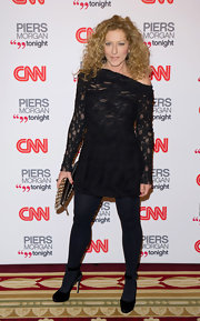 Kelly Hoppen donned black ankle strap heels embellished with flowers to the CNN Launch party.