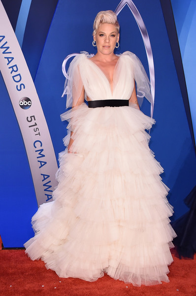 Pink Princess Gown [image,gown,wedding dress,bridal clothing,dress,flooring,beauty,fashion model,carpet,lady,fashion show,arrivals,wedding dress,clothing,pink,songwriter,cma awards,p,gown,bridgestone arena,p nk,51st annual country music association awards,the 51st annual cma awards,country music association awards,singer-songwriter,bridgestone arena,singer,country music association,songwriter,image]