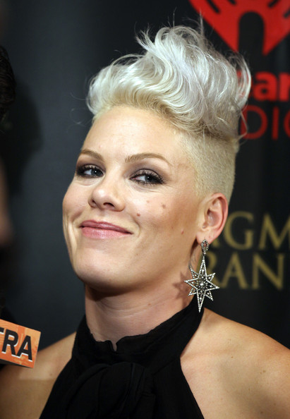 Pink Fauxhawk [hair,face,hairstyle,eyebrow,blond,beauty,chin,lip,quiff,ear,singer pink,iheartradio music festival,las vegas,nevada,mgm grand garden arena]