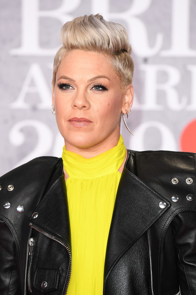 Pink Fauxhawk [hair,blond,face,hairstyle,eyebrow,jacket,lip,forehead,leather,leather jacket,red carpet arrivals,pink,brit awards,the o2 arena,london,england]