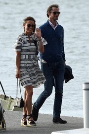 Pippa Middleton kept it breezy in a black-and-white striped mini dress by Kate Spade while out and about in Sydney.