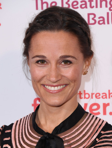 Pippa Middleton Braided Updo [hair,hairstyle,eyebrow,chin,forehead,lip,smile,magazine,black hair,premiere,pippa middleton,british heart foundation beating hearts ball,london,england,guildhall,british heart foundation,beating hearts ball,red carpet arrivals]
