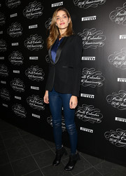 Ana Beatriz Barros contrasted her edgy pants with a formal black blazer.