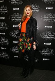 Eva Riccobono was fall-chic in a black leather jacket during the Pirelli Calendar 50th anniversary press conference.