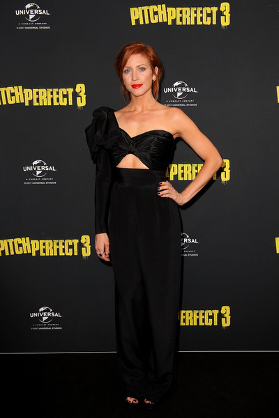 Brittany Snow dolled up in a black one-shoulder jumpsuit with a midriff cutout for the Australian premiere of 'Pitch Perfect 3.'