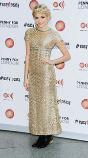 Pixie Lott radiated in a fully sequined vintage gold dress by Pat Sander during the Penny for London event.