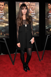 Rebecca Dayan chose this LBD with lace sleeves and neckline for her red carpet look at the premiere of 'The Place Beyond the Pines.'