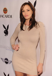 Jessica Sutta looked simple yet sexy in a nude fitted dress at the Playboy Super Saturday party.