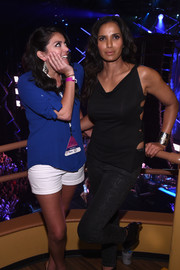 Padma Lakshmi wore a gold cuff bracelet for some shine to her black outfit at the PlentiTogether LIVE show.