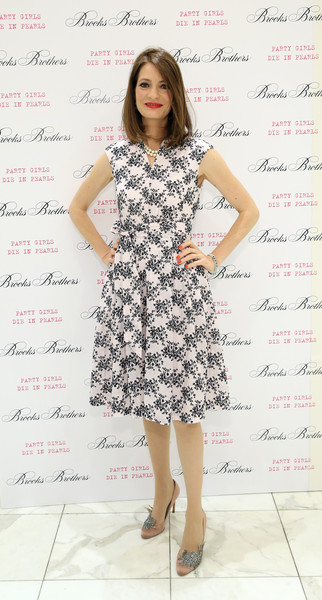 Plum Sykes Print Dress [clothing,dress,white,fashion model,cocktail dress,fashion,hairstyle,day dress,footwear,long hair,plum sykes,zac posen,party girls die in pearls,new york city,brooks brothers,zac posen host book launch party]