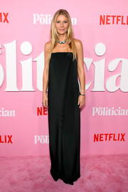 Gwyneth Paltrow was minimalist-chic in a strapless black column dress by G. Label at the premiere of 'The Politician' season 1.