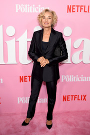 Jessica Lange kept it simple in a black pantsuit at the premiere of 'The Politician' season 1.