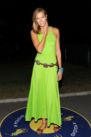 Karlie Kloss brightened up the Polo Ralph Lauren fashion show with this neon-green dress.