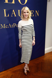Emma Roberts kept it relaxed yet chic in a striped sweater dress by Polo Ralph Lauren during the label's presentation.