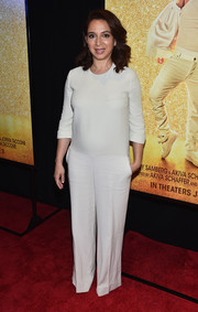 Maya Rudolph kept it minimal in a loose white jumpsuit at the New York premiere of 'Popstar: Never Stop Never Stopping.'