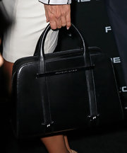 Sofia Milos carried a Porsche Design leather bowler bag to the Porsche Design 40th anniversary event in LA.