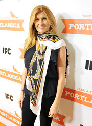 Connie Britton wore a patterned scarf with her blouse for the 'Portlandia' Season 2 premiere.
