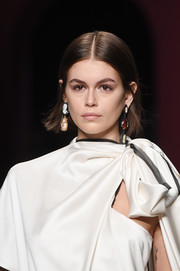 Kaia Gerber wore a center-parted bob while walking the Ports 1961 Fall 2020 show.