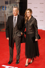Rita Wilson stayed warm in edgy style with a black leather biker jacket at the European premiere of 'The Post.'