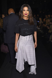 Priyanka Chopra kept it casual and fun in a distressed black T-shirt by Prabal Gurung during the label's fashion show.
