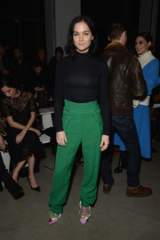 Leigh Lezark went for a classic cold-weather staple with this black turtleneck when she attended the Prabal Gurung fashion show.