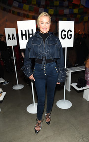 Yolanda Hadid made double denim look so sexy with this jacket and jeans combo.