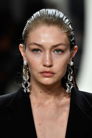 Gigi Hadid worked a punk-glam vibe with her slicked-back 'do at the Prabal Gurung fashion show.