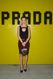 Chiara Ferragni was casual-chic in a black tank top and printed shorts at the Prada Fall 2019 show.