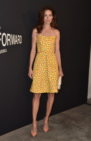 Michelle Monaghan brought a summer vibe to the LA premiere of 'Past Forward' with this floral strapless dress by Prada.