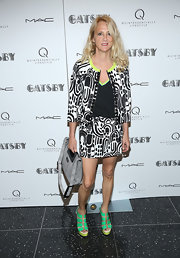 Nanette Lepore rocked a black-and-white abstract print skirt suit at 'The Great Gatsby' screening in NYC.